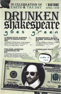 Picture of Bar Nine's drink specials for Drunken Shakespeare