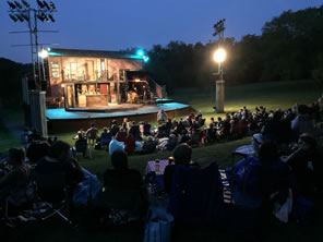 Photo of stage and audience on Mayslake lawn