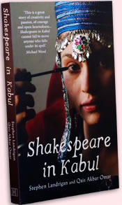 Cover of Shakespeare in Kabul with woman in Persian head dressing applying mascara