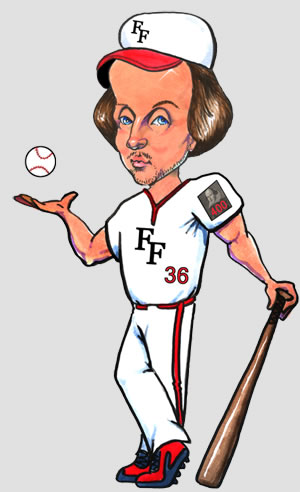 "Shakespeare in a white baseball uniform, ""FF"" logo on hat and jersey, number 36, and a ""400"" patch on his left sleeve, crossed legs and leaning on a bat with his left hand while tossing a baseball in his right"
