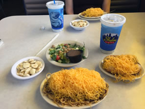 Photo of food on table at Skyline Chili