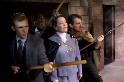 The men in suits weilding club sticks (Dauphin wears a crown, Austria a cape, Chatillion a Roman helmet), the queen in lavender dress suit with a black cape, jewelled catch, and crown.