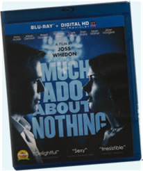Box cover for DVD showing Benedick and Beatrice facing each other on a blue background