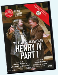 DVD box cover with Falstaff and Hal greeting each other