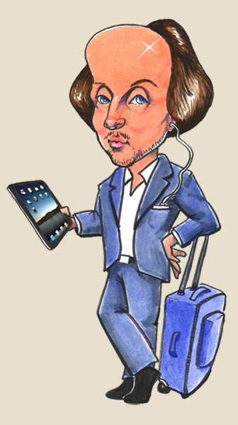 Caricature of Shakespeare with rolling suitcase, an iPad and MP3 player